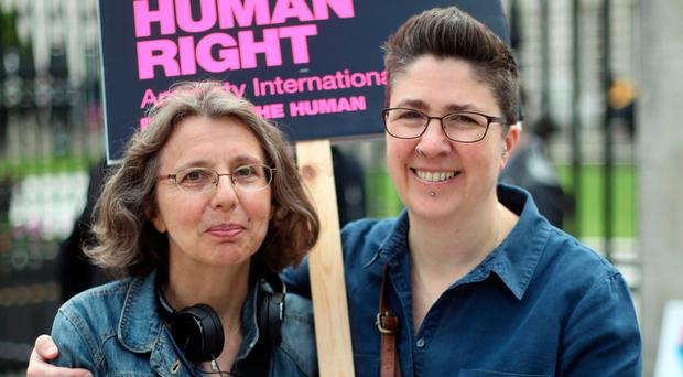 Catherine Couvert (left) and Sally Bridge from the Love Equality Coalition