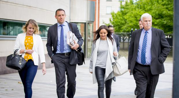 Richard Brown, brother of Marian Brown leaves her inquest yesterday along with other family members and their solicitor (second left)