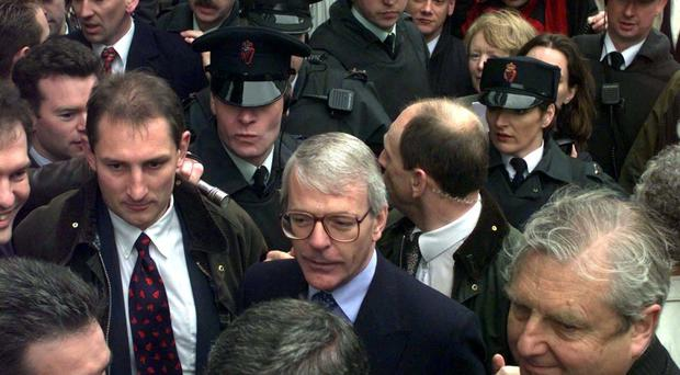 Sir John Major pictured in Belfast during his stint as prime minister