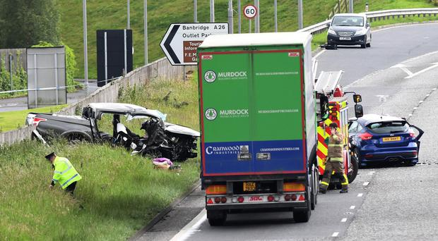 Police and emergency services at the scene of the smash on the A1 dual carriageway near The Outlet in Banbridge