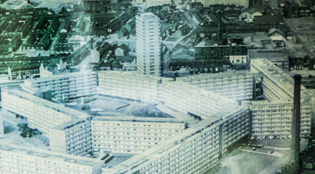 Aerial view of the old Divis flats