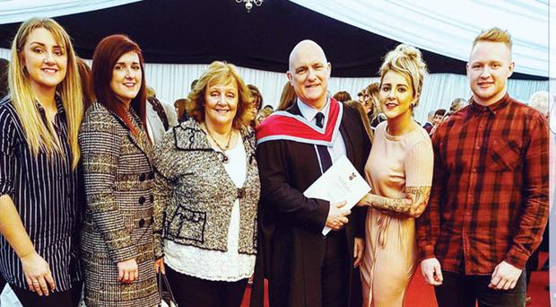 The late Queen's lecturer David Marshall with his family, from left, Catherine, Jenny, wife May, Anna and David
