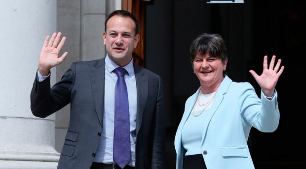 Taoiseach Leo Varadkar welcomes Arlene Foster to Government Buildings in Dublin yesterday