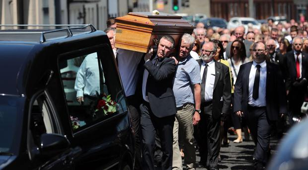 The funeral of Disappeared victim Seamus Ruddy at St Catherine's Dominican Chapel in Newry, Co Armagh