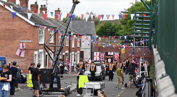 'Orangemen' are filmed in west Belfast for new comedy series Derry Girls