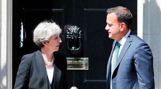 Prime Minister Theresa May with Leo Varadkar on his first visit to Downing Street as Taoiseach