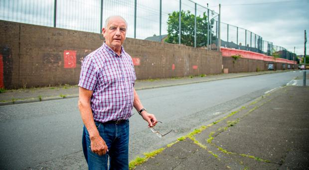 Patrick Quinn (75) at the east Belfast interface