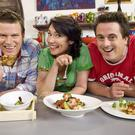 Darren Simpson, right, with his co-hosts and fellow chefs Anna Gare and Ben O'Donoghue on their cooking show The Best In Australia (Foxtel via AP)