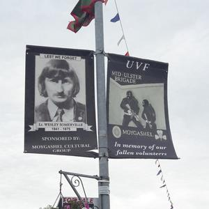 The banner featuring loyalist killer Wesley Somerville