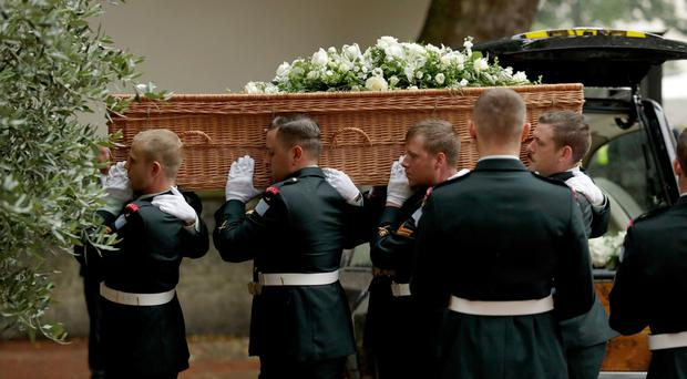 The coffin arriving at the funeral of Countess Mountbatten of Burma at St Paul's Church