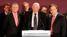 Ian Paisley, then DUP leader, speaks in St Andrews in 2006 during talks on the Northern Ireland peace process