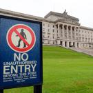 A sign outside Stormont in Belfast as talks aimed at restoring powersharing in Northern Ireland continue