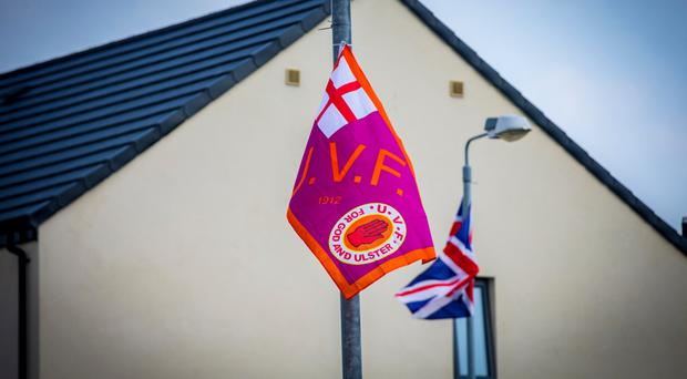 Flags being flown from lampposts