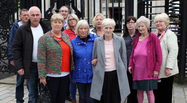The family of Daniel Hegarty, including sisters Margaret Brady, Catherine Devenney and Philomena Conlaghan, at the High Court earlier this month