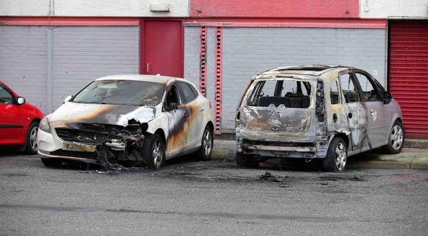 The cars which were set on fire in the Riverdale area of Larne