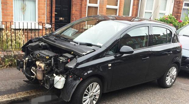 Emily Hamilton's car after the front of it was stripped away by thieves