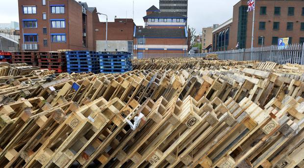 Press Eye - Belfast - Northern Ireland - 23rd June 2017 - Photo by Stephen Hamilton / Press Eye. Missing pallets vox pops Pallets beginning to get replaced after being removed by the council at Sandy Row bonfire site