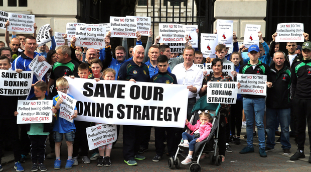 Boxing clubs take part in the protest against funding cuts to the sport at Belfast City Hall