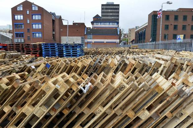 Pallets for a loyalist bonfire were being stored by Belfast City Council at one of its depots.