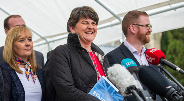 DUP leader Arlene Foster speaks to media at Stormont Castle yesterday