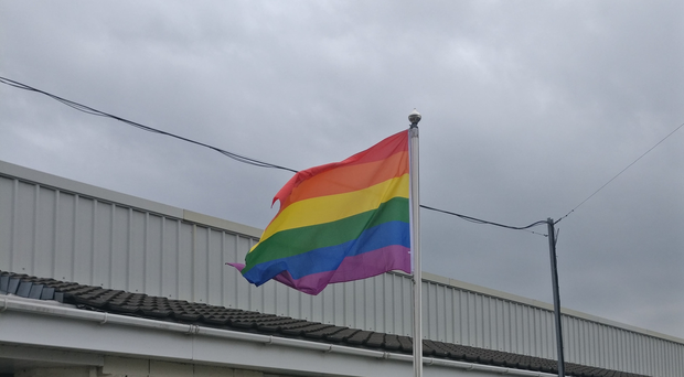 The rainbow flag flying at Palace Barracks in Holywood