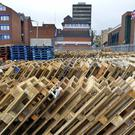 Pallets stored in preparation for this year's bonfires.
