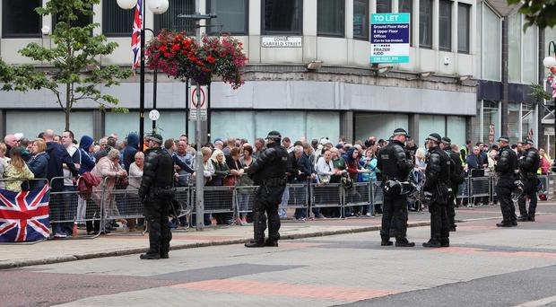 PSNI officers on duty in August 2015 when an anti-internment march and opposing loyalist march passed through Belfast City Centre.