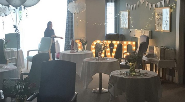 The transformed room for the wedding at the Northern Ireland Hospice