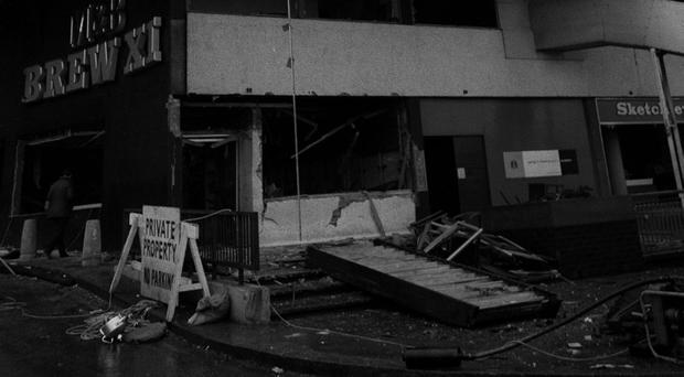 The exterior of the Mulberry Bush pub in Birmingham after a bomb exploded in November 1974