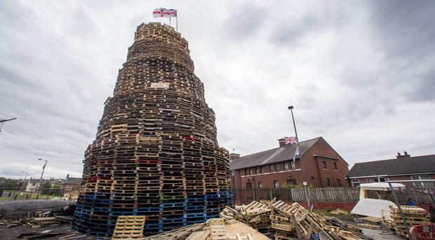 The loyalist bonfire at Bloomfield Walkway in Belfast in 2017.