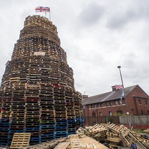A loyalist bonfire at Bloomfield Walkway in Belfast