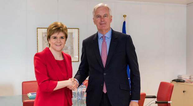 Nicola Sturgeon with Michel Barnier