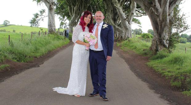 Andrea McAleese and husband Tommy McConaghy at the Dark Hedges yesterday after their wedding