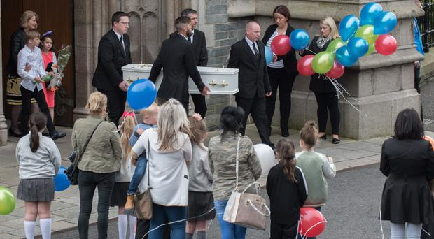 The funeral at St Eugene's Cathedral of little Donnacadh Maguire, who died after being knocked down on Tuesday