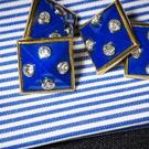 Lapis lazuli and diamond cufflinks