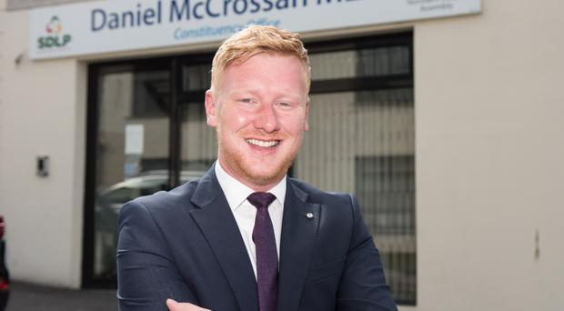 SDLP MLA Daniel McCrossan outside his constituency office in Omagh
