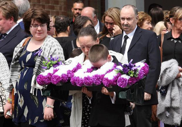 There was an emotional farewell to Valerie Armstrong at the Church of the Nativity in west Belfast