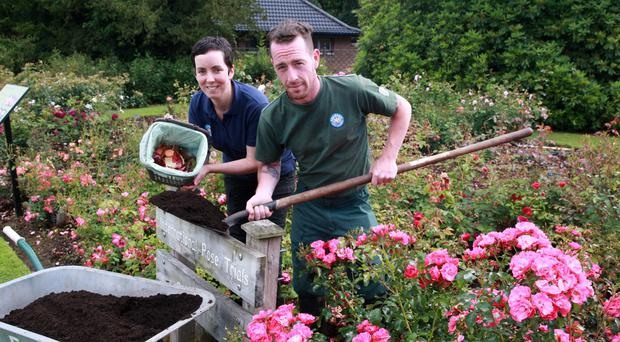 Mary Brady, recycling education officer, and Ricky Kane, gardener at Sir Thomas and Lady Dixon Park