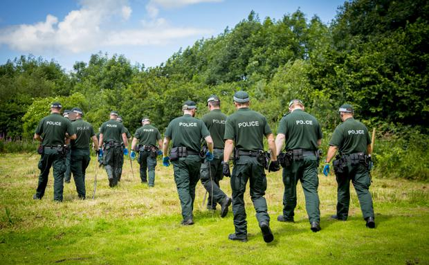 Police officers conduct searches in the Newtownabbey area earlier this week