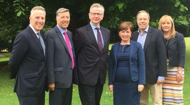 Michael Gove (third left) with DUP's Ian Paisley, Paul Girvan, Diane Dodds, Nigel Dodds and Michelle McIlveen during his visit to Antrim
