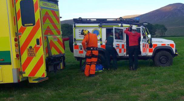 The Mourne Mountain Rescue Team at the scene