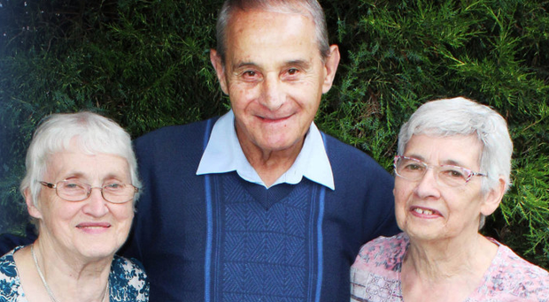 Reunited after after 73 years May Knox (Nee Hill) Sam Bargewell and Meta McConaghie (Nee Hill)