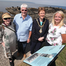 The Mayor of Causeway Coast and Glens Borough Council, Councillor Joan Baird OBE, with long-distance swimmer Mercedes Gleitze's children Doloranda and Fergus, and Heather Clatworthy.