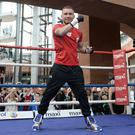 Crowds flocked to see Carl Frampton's public workout yesterday at Victoria Square