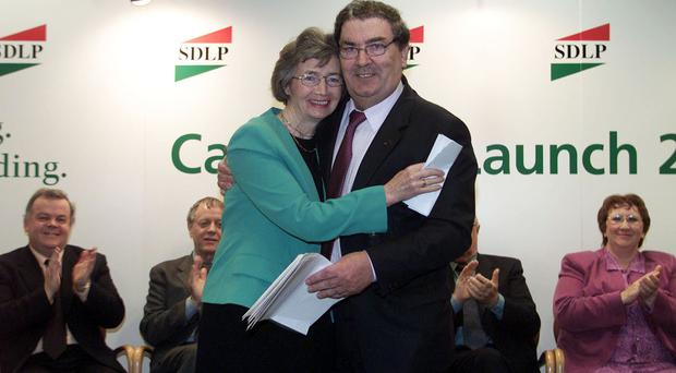 Former SDLP leader John Hume with Brid Rogers in 2001.