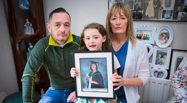 Kellie's brother Conor McConville, her daughter Mia Madden (6) and sister Angela Hunte