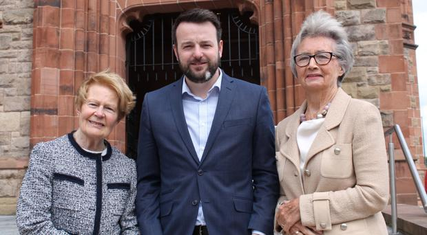 SDLP leader Colum Eastwood with Pat Hume and Brid Rodgers