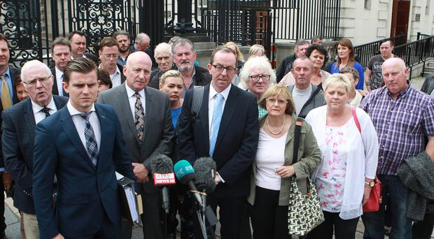 Relatives of those killed by the Glenanne Gang, including Eddie Barnard (third left)