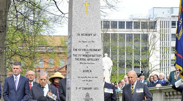 The memorial, pictured during a re-dedication service in 2010 for soldiers killed or wounded during the conflict