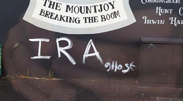 The graffiti painted on Bonds Street mural in the early hours of Sunday